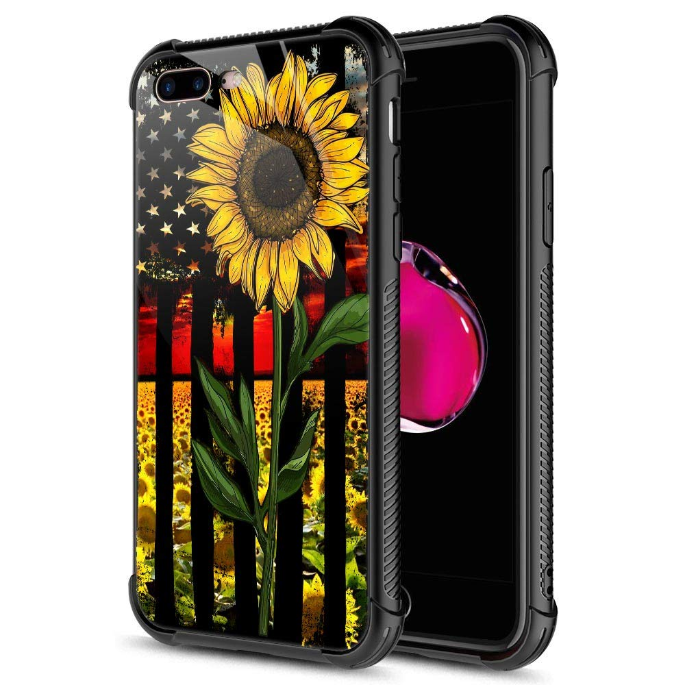 iPhone SE 2020 Case,Tempered Glass iPhone 8 Case,Sunflower Flag iPhone 7 Cases [Anti-Scratch] Fashion Cute Cover Case for iPhone 7/8/SE2 4.7-inch Sunflower Flag Black