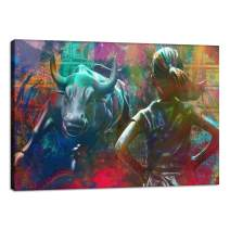 "Motivational Wall Art Canvas Print Wall Street Charging Bull Fearless Girl Positive Office Decor Inspirational Framed Prints Entrepreneur Quotes Wall Art Decoration Framed Ready to Hang - 12""Hx18""W"