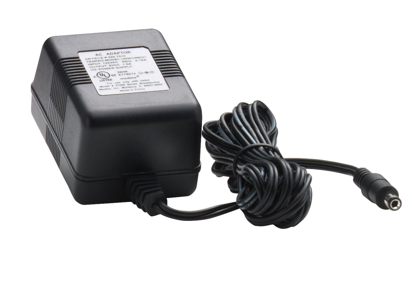 Medela Breast Pump Power Supply Cord, 9 Volt Power Adaptor, Authentic Medela Spare Part for 9V Pump in Style Breastpumps