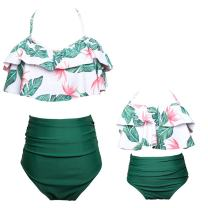 Mommy and Me Swimsuits High Waisted Family Matching Swimwear Baby Girls Floral Printed Bikini Set