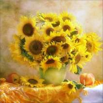Diamond Painting Kits for Adults Kids, 5D DIY Sunflower Diamond Art Accessories with Round Full Drill for Home Wall Decor - 11.8×11.8Inches