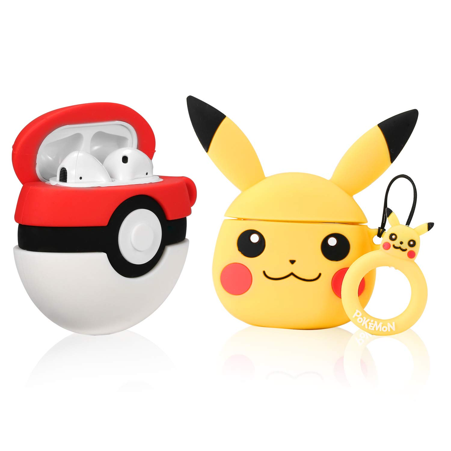 Lupct (Pikacu & Elf Ball) Case for Airpods 1/2 Cute Soft Silicone,Cartoon 3D Fun Animal Pattern Cover for Girls Kids Teens Character Design Airpod Funny Kawaii Cases for Air pods (2 Pack)