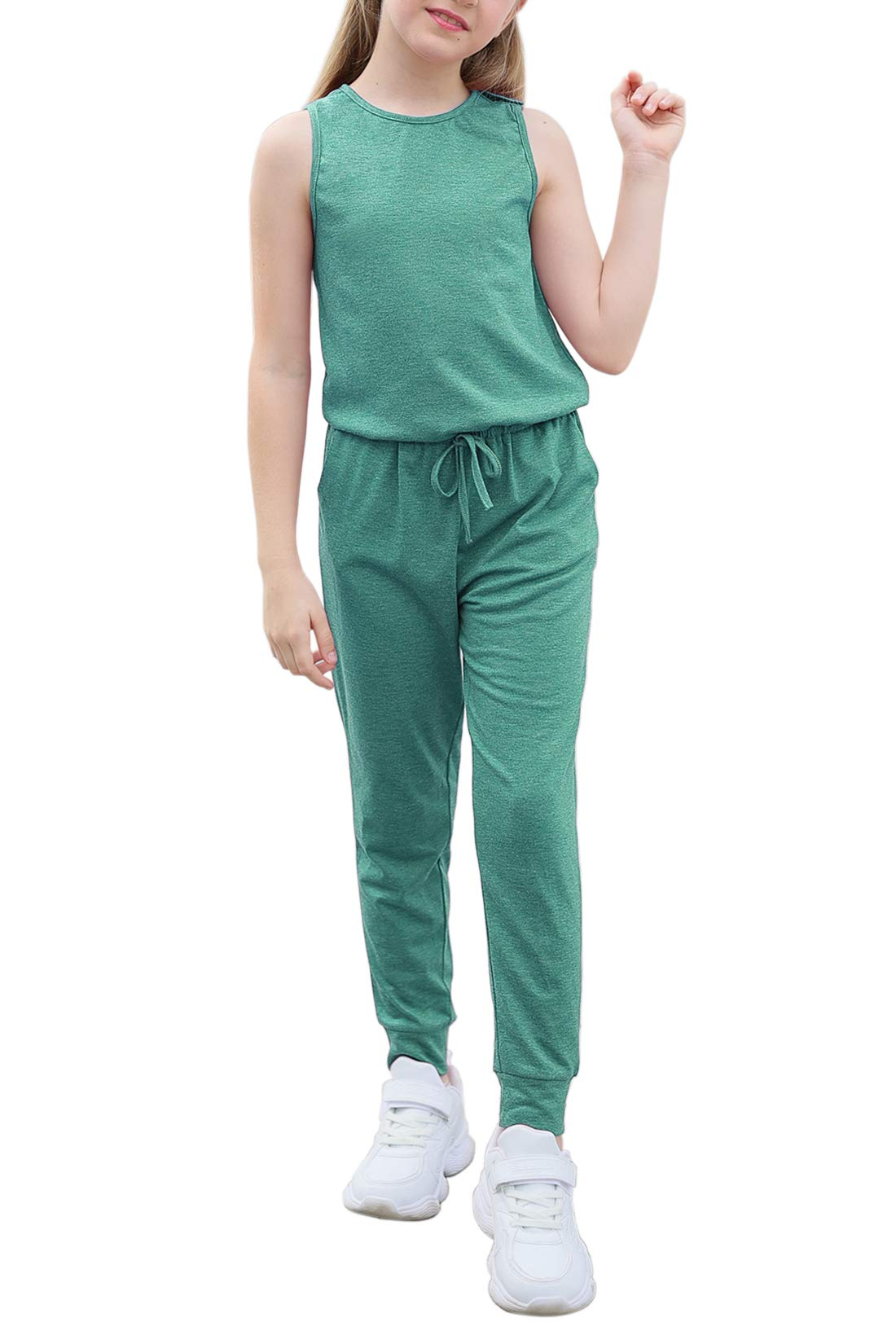 GORLYA Girl's Sleeveless Solid Casual Jumpsuit Rompers Harem Pants Outfits for 4-14T