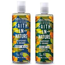 Faith In Nature Grapefruit and Orange Invigorating Shampoo 400ml and Body Wash 400ml Duo