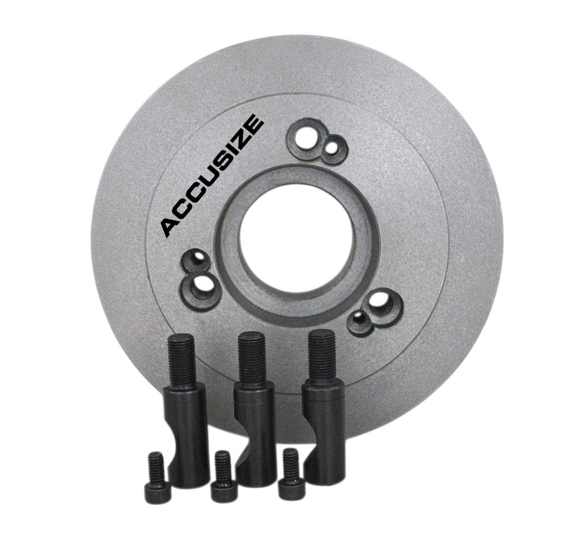 Accusize Industrial Tools 6'' Dia, D= 6.29'' Lathe Chuck Back Plate, D1 Type Adapter for Most 4 Jaw Independent Chucks, 2600-0163