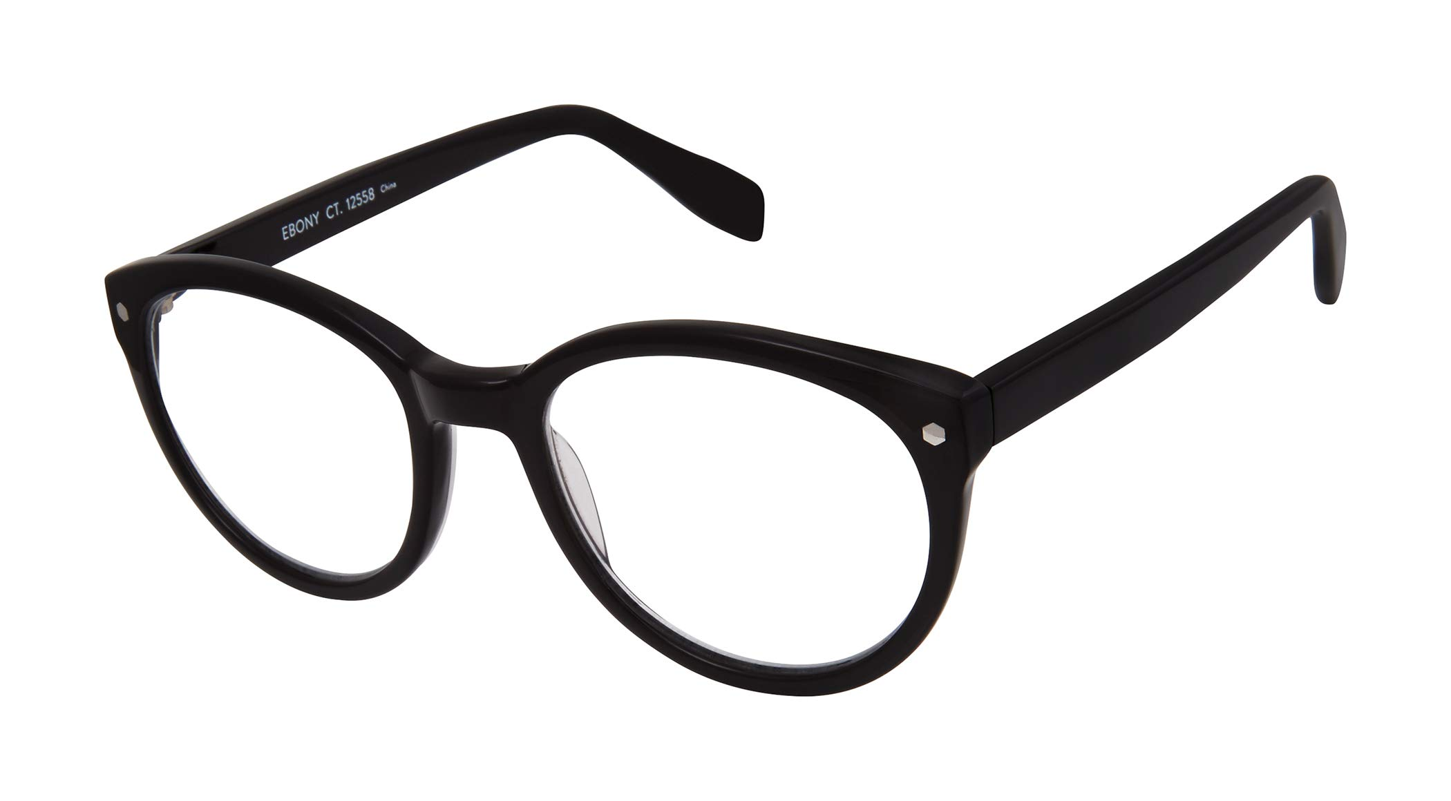 Ebony Court - 100% Recycled - Round Eco-Friendly Fashion Reading Glasses for Men and Women - Onyx Black