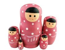 Set of 5 Adorable Pink Cartoon Girl White Dotted Wooden Nesting Dolls Matryoshka Russian Doll Popular Handmade Stacking Toys Kids Gifts Christmas New Year Home Decoration
