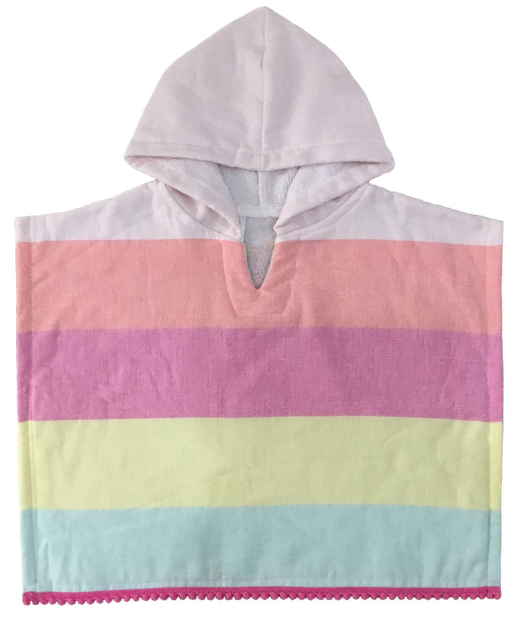 PINKEONLINE Hooded Towel Poncho Cotton Terry V-Neck Cape Cloak Cover Up 16.5x16.5 inches for Toddler Baby Infant, Cradle Pink Peach Yellow Blue Stripe