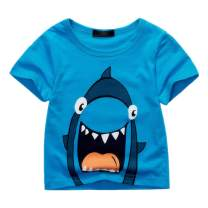 Sooxiwood Boys T-Shirt Short Sleeve Shark Cartoon