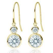 White 14K Yellow Gold Dangle Earrings Set with Zirconia from Swarovski
