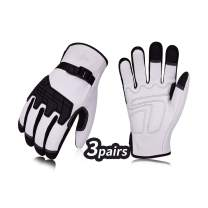 Vgo 3Pairs Premium Goat Leather Work Gloves (Size M,White,GA1012)