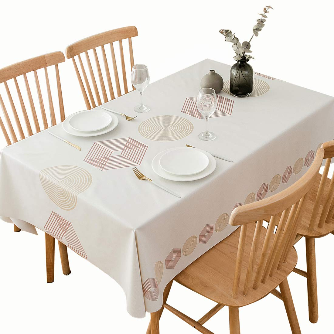 DUOFIRE Vinyl Tablecloth Rectangle Heavy Weight Table Cover Wipe Clean Waterproof (54 x 54 Inch, Color-no.023)