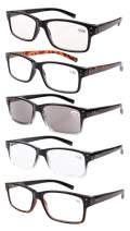 Reading Glasses 5-Pack for Men and Women Includes Full Readers Sunglasses +1.75