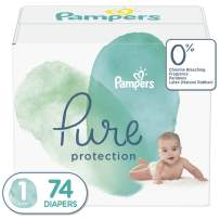 Diapers Newborn/Size 1 (8-14 lb), 74 Count - Pampers Pure Protection Disposable Baby Diapers, Hypoallergenic and Unscented Protection, Super Pack (Old Version)