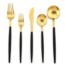DEACORY Flatware Set Silverware Set Black and Matte Gold 18/10 Stainless Steel with 5 Piece Service for 1
