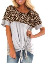 Women's Short Sleeve Front Tie Leopard Print Color Block T Shirt Crewneck Knot Casual Tunic Blouse Top