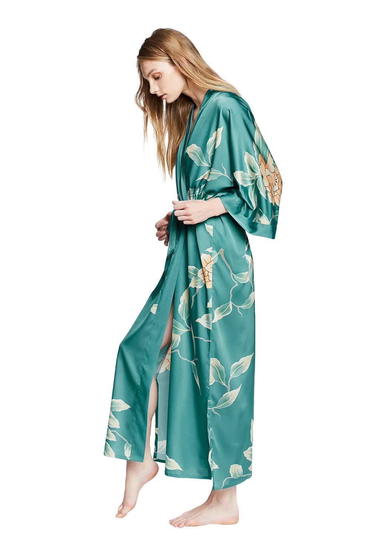 KIM+ONO Women's Charmeuse Kimono Robe Long - Watercolor Floral