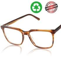 CGID Premium Unisex Acetate Glasses Frames with Case Nerd Square Non-Prescription Eyewear UV400 Clear Lens Spring Hinges P01