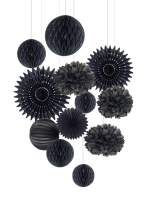 Black Paper Party Hanging Decorations Tissue Paper Honeycomb Pom Poms Flowers Paper Cutout Fans Retirement Wedding Anniversary Graduation Party Supplies 12Pcs Easy Joy (Black)