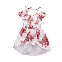 Baby Girl Off Shoulder Vintage Floral Princess Dress Halter Ruffle Sleeve Elastic Waist Hem Pantskirt Outfits