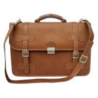Piel Leather XXL Flap-Over Portfolio, Saddle, One Size