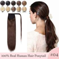 Ponytail Human Hair Extensions Real Hair Wrap Around Ponytail Hairpieces Remy Hair Clip in Pony Tails One Piece Ponytail Hair Piece with Magic Paste For Women 16inch 80g #04 Medium Brown
