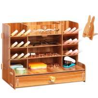 Wood Desk Organizer with Drawer, Office Supplies Storage Pen Organizer for Desk, Suitable for Office Desks, Makeup, Home Office, Pencil Organizer Desktop Organizer