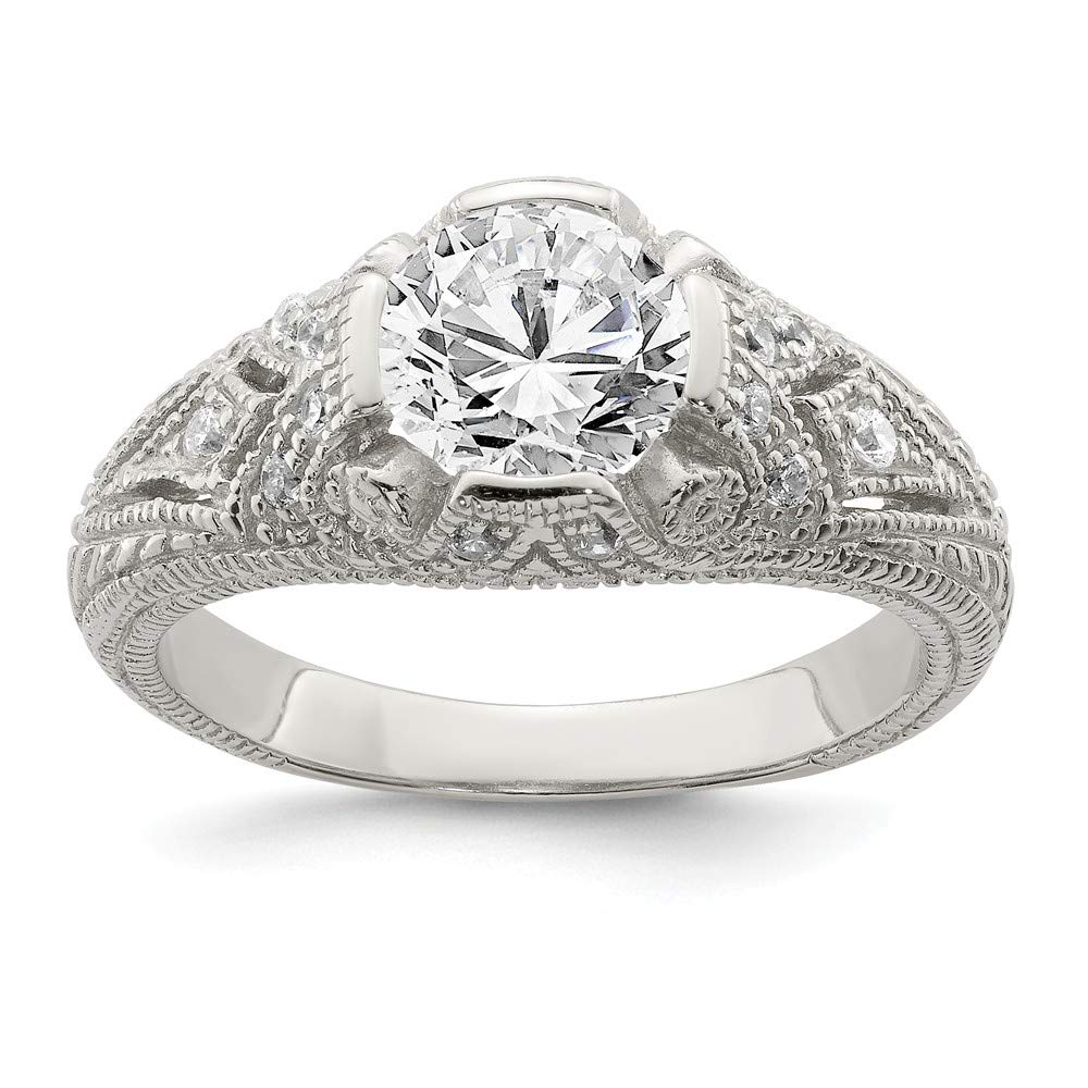 925 Sterling Silver Cubic Zirconia Cz Antique Look Band Ring Fine Jewelry For Women Gift Set