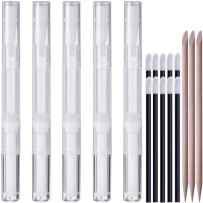 5 Pack 3ml Transparent Empty Twist Pens, KINGMAS Cuticle & Nail Oil Pen Lip Gloss Container Applicators Growth Liquid Tube