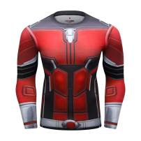 Red Plume Men's Compression Long Sleeve T-Shirt 3D Digital Printing Crew-Neck Tees Running Tops Workwear