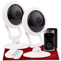 Vivitar IPC117 360 Wide Angle 1080p HD Wi-Fi Smart Home Security Camera W/ iOS/Android App (x2) + Vivitar Wireless Video Doorbell & Vivitar WiFi Door Sensor