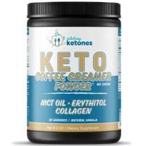 Catching Ketones Keto Coffee Creamer with MCT Oil, French Vanilla Creamer with Powdered Erythritol Sweetener-Monkfruit Sweeteners-Himalayan Salt & Hydrolyzed Collagen-Sugar Free Coffee Creamer Powder