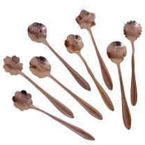 CHICHIC Set of 8 Flower Coffee Spoon Tea Spoon Dessert Spoons Scoop Stainless Steel Tableware Stirring/Sugar/Stir/Bar/Mixing/Ice Cream Spoon for Kitchen Dining Bar, Condiment or Spice, Rose Gold