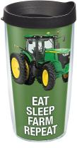 Tervis 1274089 John Deere - Colossal Tractor Tumbler with Wrap and Black Lid 16oz, Clear