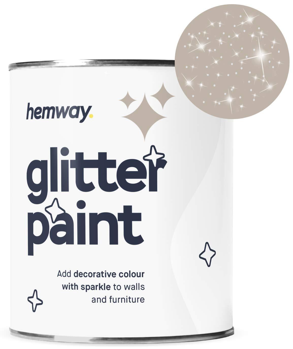 Hemway Silver Glitter Paint 1L Matte Walls Wallpaper Bathroom Furniture Acrylic Latex (Latte Brown)