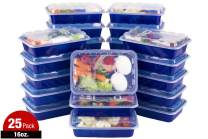 ISO Meal Prep Containers with Lids Certified BPA-Free Stackable Reusable Microwave/Dishwasher/Freezer Safe 16 oz, 25 Count, NAVY BLUE