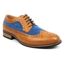 New Men's Wing Tip Brogue Suede Leather Lace Up Modern Dress Shoes Azar