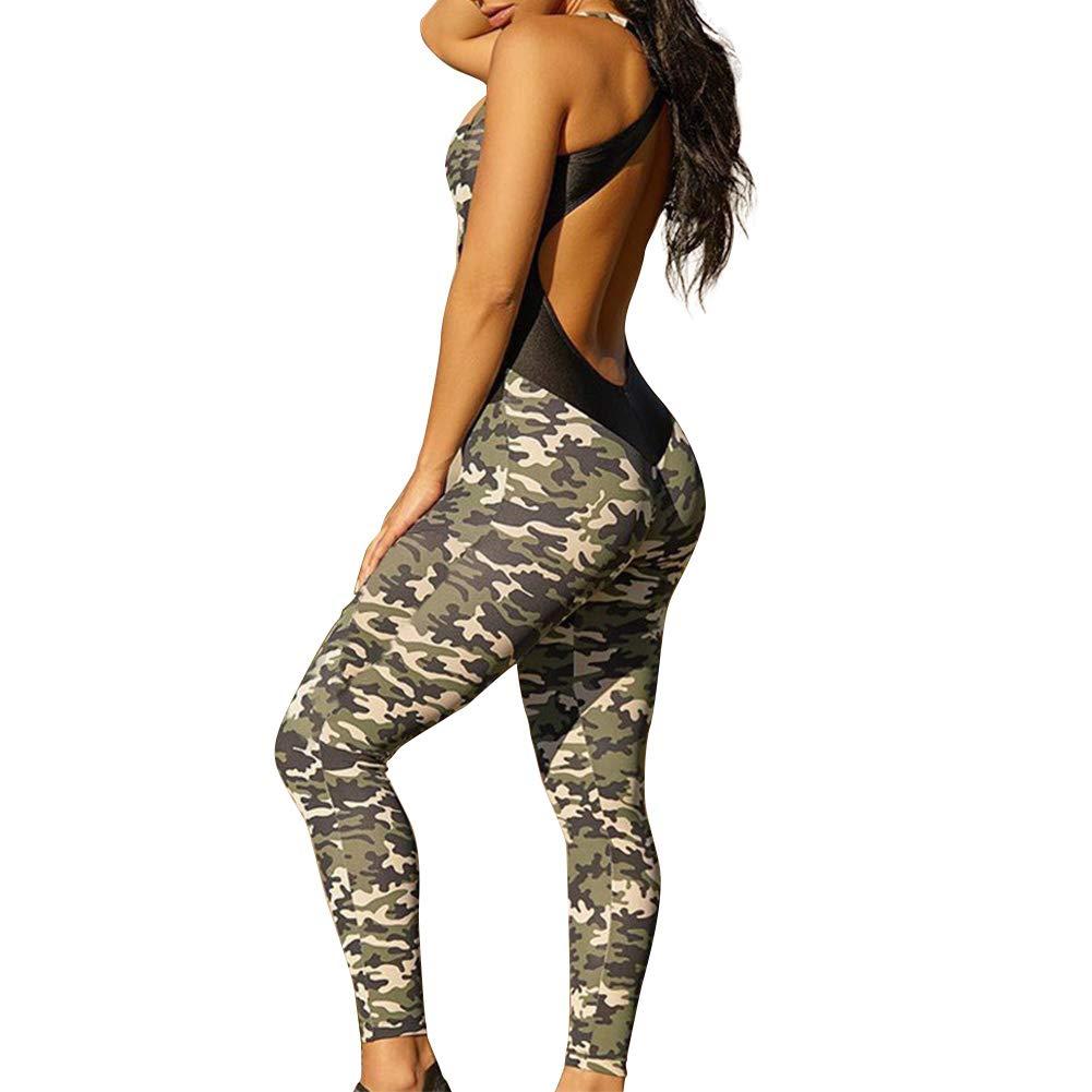 Sumtory Women Crisscross Bandage Backless Camo Bodycon Jumpsuits Long Pant Romper Playsuit