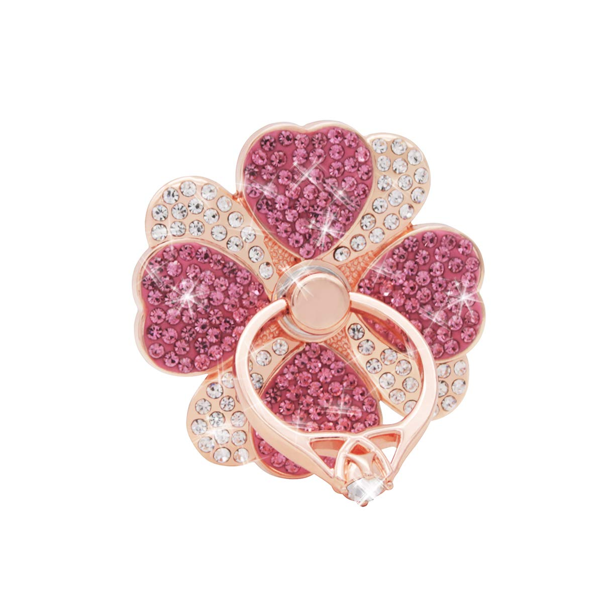 IYOYI Bling Rhinestone Cell Phone Ring Stand 360° Rotation Finger Grip Crystals Metal Holder Romantic Heart Petal Flower Mount for iPhone 11 Pro Xs Max XR X 8 7 6 6s Plus Samsung Galaxy and More