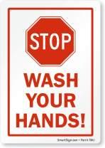 "SmartSign""Stop - Wash Your Hands"" Label | 3.5"" x 5"" Laminated Vinyl"