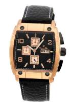 Porsamo Bleu Luxury London Genuine Leather Rose Tone & Black Men's Watch 141CLOL
