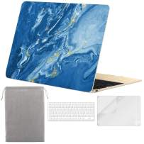 Sykiila for MacBook 12 inch Case 4 in 1 Hard Shell Case & HD Screen Protector & Keyboard Cover & Sleeve for Model A1534 with Retina Display - Blue River Quicksand