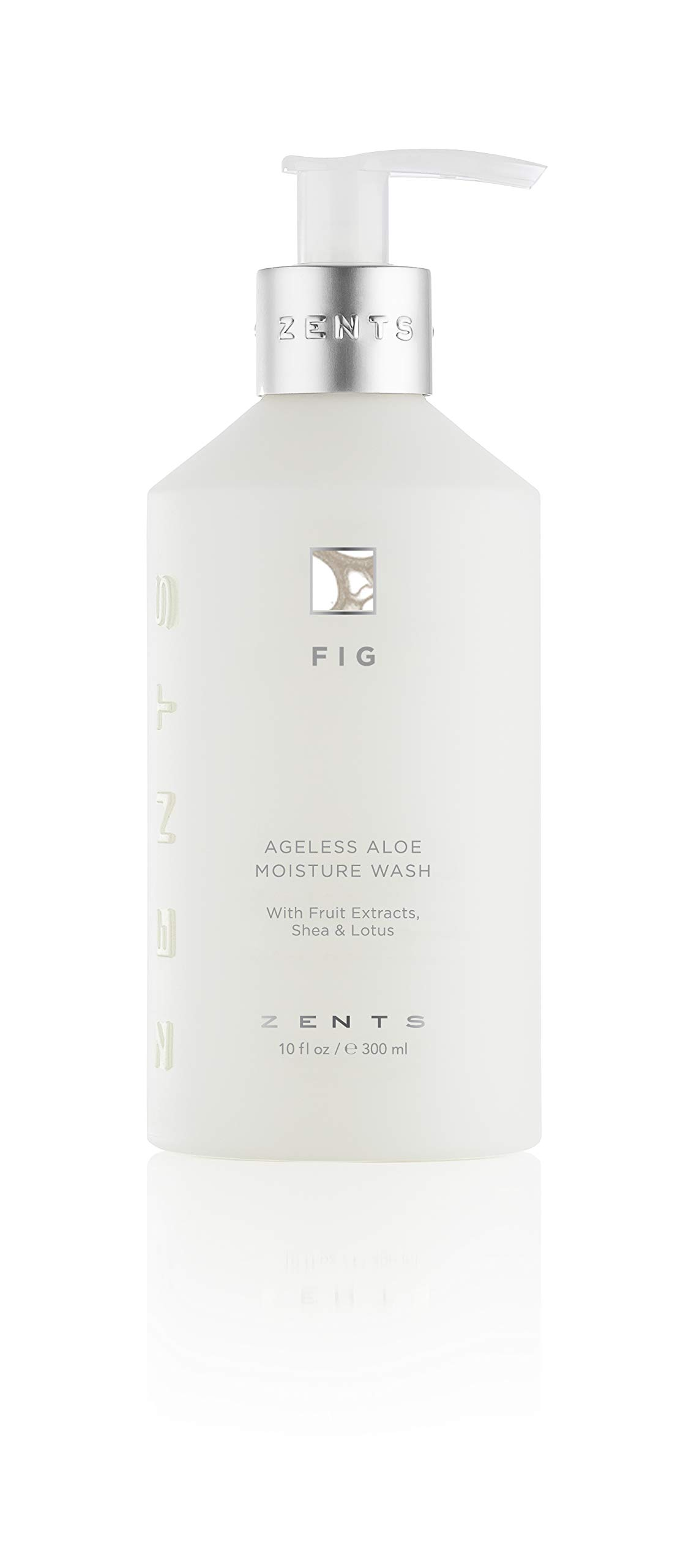 Zents Ageless Aloe Moisture Body and Hand Wash, Cleanse and Nourish Dry Skin with Shea Butter and Organic Aloe 10 fl oz / 300 ml (Fig)