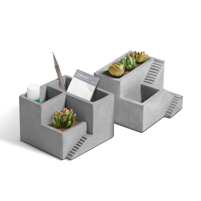 T4U Cement Succulent Planter, Small Concrete Pot Herb Cactus Pen Pencil Holder with Compartments Flower Planter Container Desktop Organizer for Home Office Decoration Set of 2