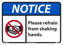 NMC NGA37RB Notice Please Refrain from Shaking Hands, 10 X 14 0.05 Rigid Plastic, Red/Black/Bue