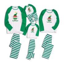 Matching Family Pajamas Set Christmas PJ's with Tree and Striped Long Sleeve Pants Holiday Pajama Sleepwear PJ Sets