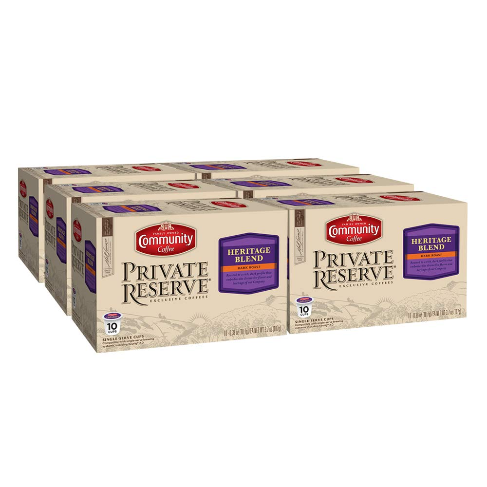 Community Coffee Private Reserve Heritage Blend Dark Roast Single Serve Compatible with Keurig 2.0 K Cup Brewers, 60 Count