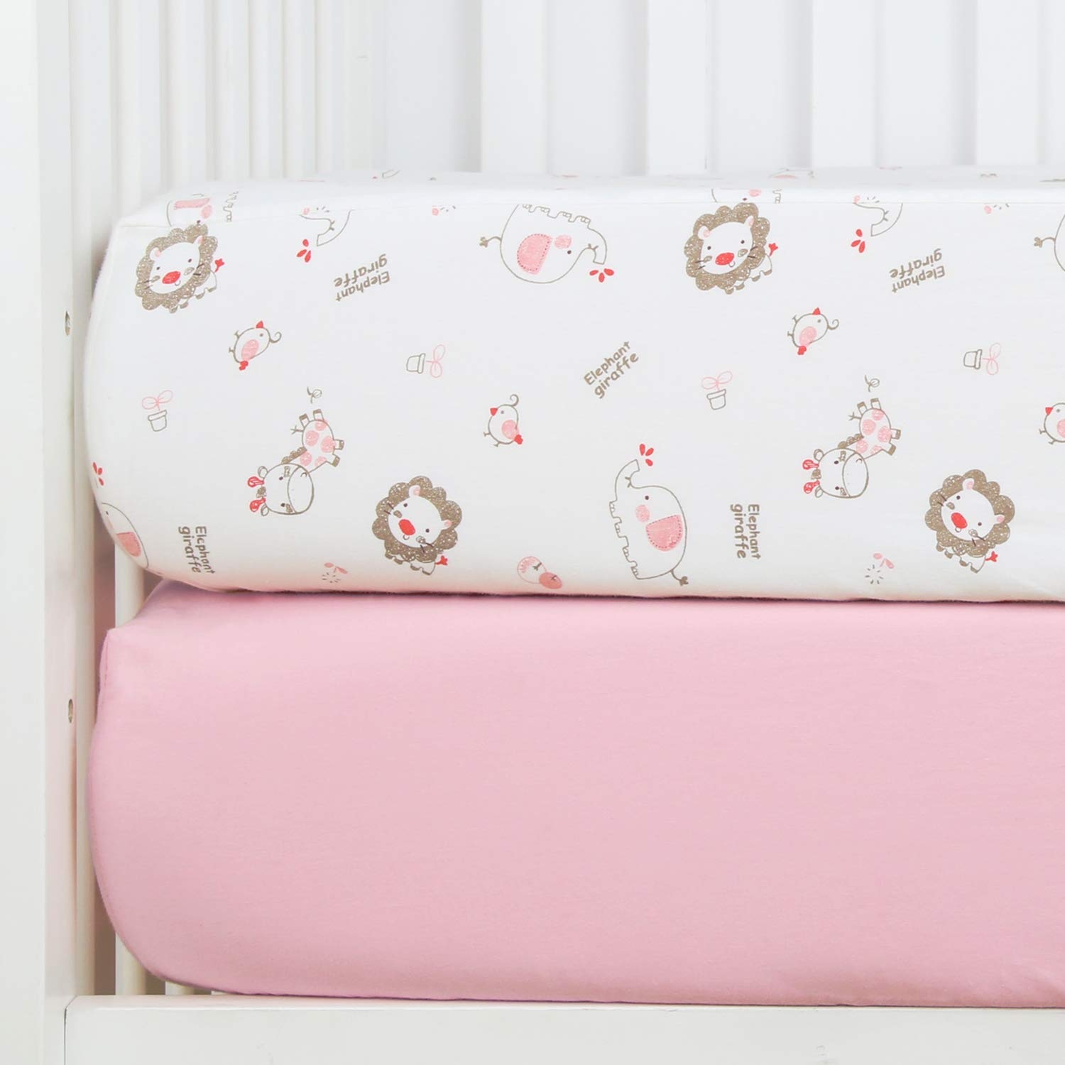 """TILLYOU Crib Sheet Elephant Giraffe Element, 100% Egyptian Cotton Toddler Sheet Set for Baby Girls and Boys, Soft Breathable Cozy Baby Sheets, 28""""x52"""" - Lt Pink & Jungle Buddies"""