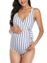 Summer Mae Maternity Swimsuit One Piece Tie Front Bathing Suit V Neck Pregnancy Swimwear High Cut