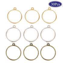 OBSEDE Round Open Bezel Pendants Charms Resin Molds for Jewelry Findings Pressed Flower Frame Hollow Trays 25mm 30pcs